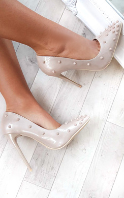 View the Chloe Studded Court Heels online at iKrush