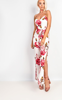 View the Tilly Floral Tie Waist Jumpsuit online at iKrush