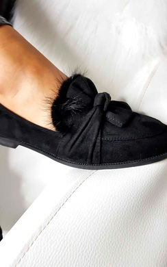 View the Fifi Suede Faux Fur Bow Pumps online at iKrush