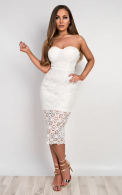 View the Meryn Strapless Lace Bodycon Dress online at iKrush