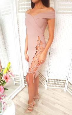 View the Aleshia Lace Up Bodycon Dress online at iKrush