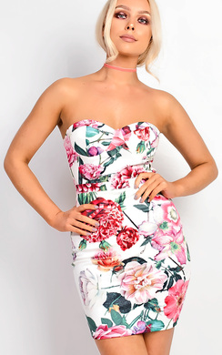 View the Cecilia Floral Bandeau Bodycon Dress online at iKrush