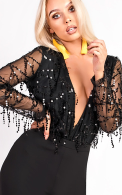 View the Hope Sequin Tassel Plunge Bodysuit online at iKrush