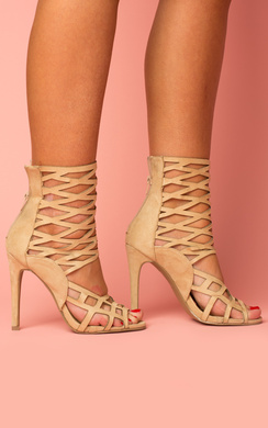 View the Justina Peep Toe Cage Heels online at iKrush