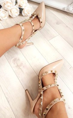 View the Valena Multi Strap T-Bar Studded Court Heels online at iKrush