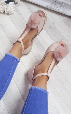 View the Shezzi Faux Suede Pom Espadrille Sandals online at iKrush