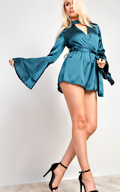 View the Juliana Flared Sleeve Plunge Playsuit online at iKrush