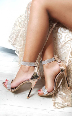 View the Jessica Diamante Strap Barely There Heels online at iKrush