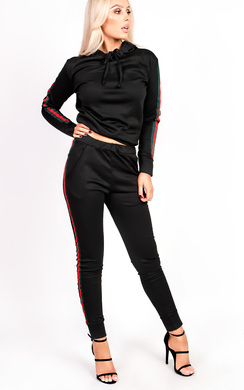 View the Ariana Stripe Hooded Slim Fit Tracksuit online at iKrush