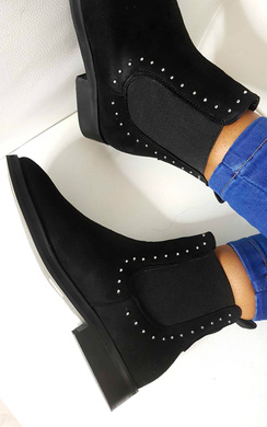 View the Tessi Studded Chelsea Faux Suede Ankle Boots online at iKrush