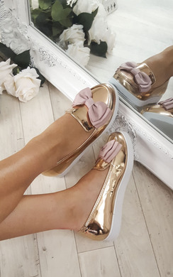 View the Lucinda Bow Chrome Patent Flat Pump Shoe online at iKrush
