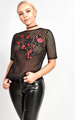 View the Samara Embroidered  Mesh Top online at iKrush