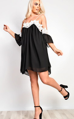 View the Estella Lace Cold Shoulder Dress online at iKrush