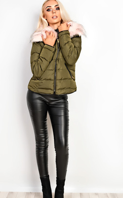 View the Annika Faux Fur Quilted Jacket  online at iKrush