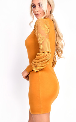 View the Lipsina Lace Sleeve Choker Stretch Jumper Dress online at iKrush