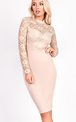 View the Pixie Midi Long Sleeve Lace Dress online at iKrush