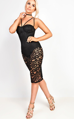 View the Roselyn Lace Bodycon Dress online at iKrush