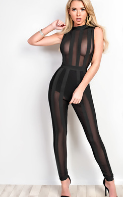 View the Hillary Mesh Bandage Jumpsuit online at iKrush