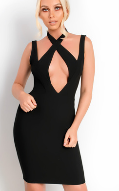 View the Chyna Cross Front Bodycon Dress online at iKrush