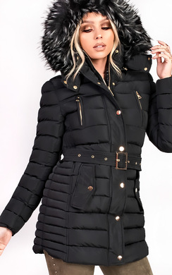 View the Lorita Padded Faux Fur Hooded Jacket online at iKrush
