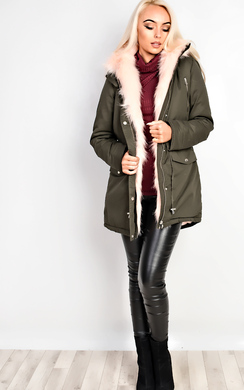 View the Masie Faux Fur Parka Jacket online at iKrush