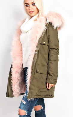 View the Claudine Faux Fur Parka Jacket online at iKrush