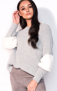 View the Anna Faux Fur Sleeve Knitted Jumper  online at iKrush