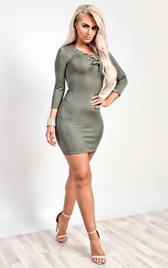 View the Elyse Lace-Up Bodycon Dress online at iKrush