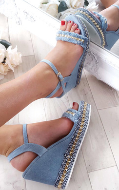 View the Yasmin Denim Studded Wedge  online at iKrush