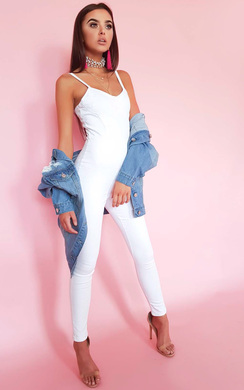 View the Kassidy Zip Back Denim Jumpsuit online at iKrush