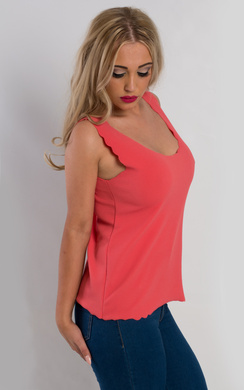 View the Gracen Textured Scalloped Vest Top online at iKrush
