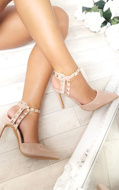View the Anah Multi Ankle Strap Studded Court Heels online at iKrush