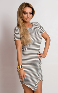 View the Chenai Asymmetric Striped Bodycon Dress online at iKrush