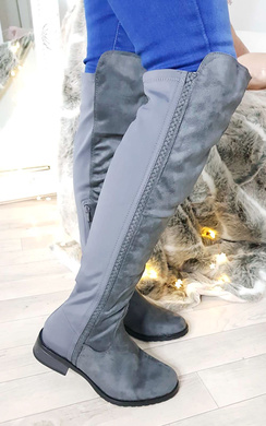 View the Lexi Faux Suede Stretch Knee High Boots online at iKrush