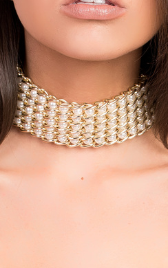 View the Mia Chain Pearl Choker Necklace online at iKrush