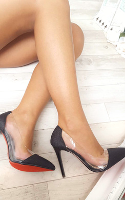 View the Mel Red Sole Clear Panel Glitter Heels online at iKrush