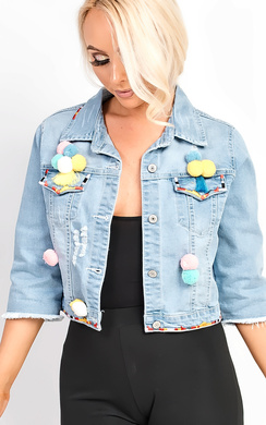 View the Sorela Crop Pom Pom Denim Jacket  online at iKrush