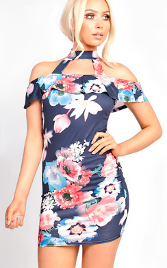 View the Lizzie Bardot Choker Floral Dress online at iKrush