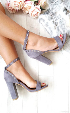 View the Lalia Faux Suede Studded Block Heels online at iKrush