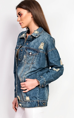 View the Kris Distressed Denim Jacket  online at iKrush