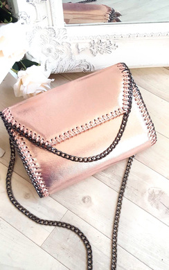 View the Kila Metallic Chain Detail Clutch Bag online at iKrush