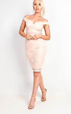 View the Ophelia Bardot Lace Midi Dress online at iKrush