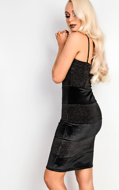 View the Karter Velour Panelled Bodycon Dress online at iKrush