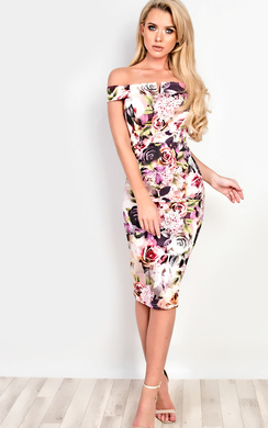 View the Nellie Off Shoulder Floral Bodycon online at iKrush