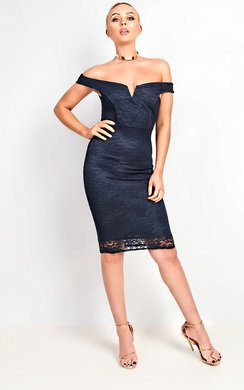 View the Ophelia Bardot Lace Midi Dress online at iKrush