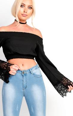 View the Aurora Bardot Crochet Lace Top  online at iKrush