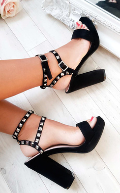View the Kailey Strappy Faux Suede Studded Block Heels online at iKrush