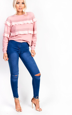 View the Kara High Waisted Ripped Skinny Jeans online at iKrush