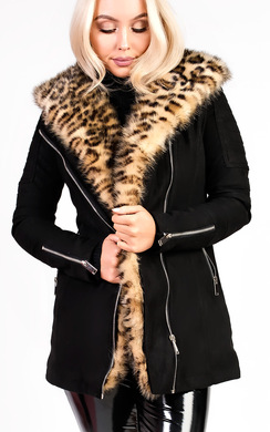 View the Britney Faux Suede Leopard Fur Longline Jacket online at iKrush
