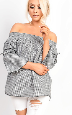 View the Braelyn Bardot Gingham Bell Sleeve Top  online at iKrush